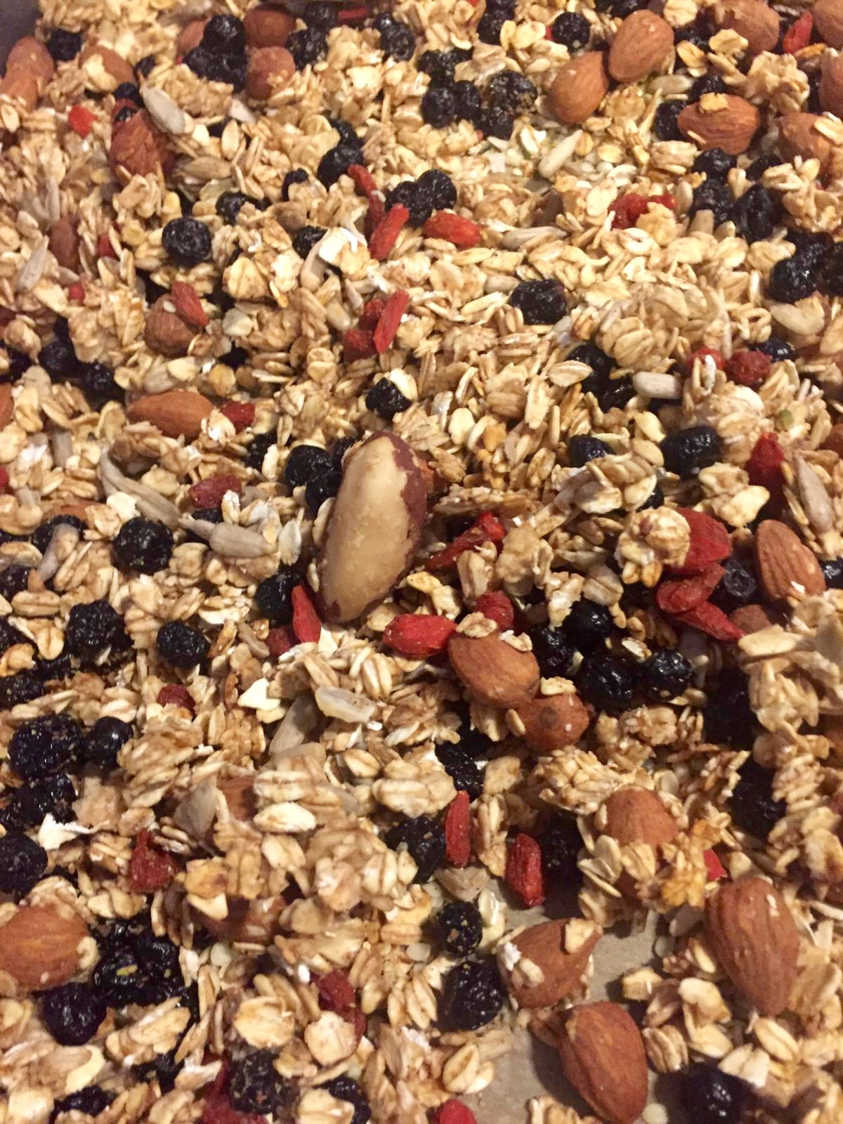 Tray of homemade granola