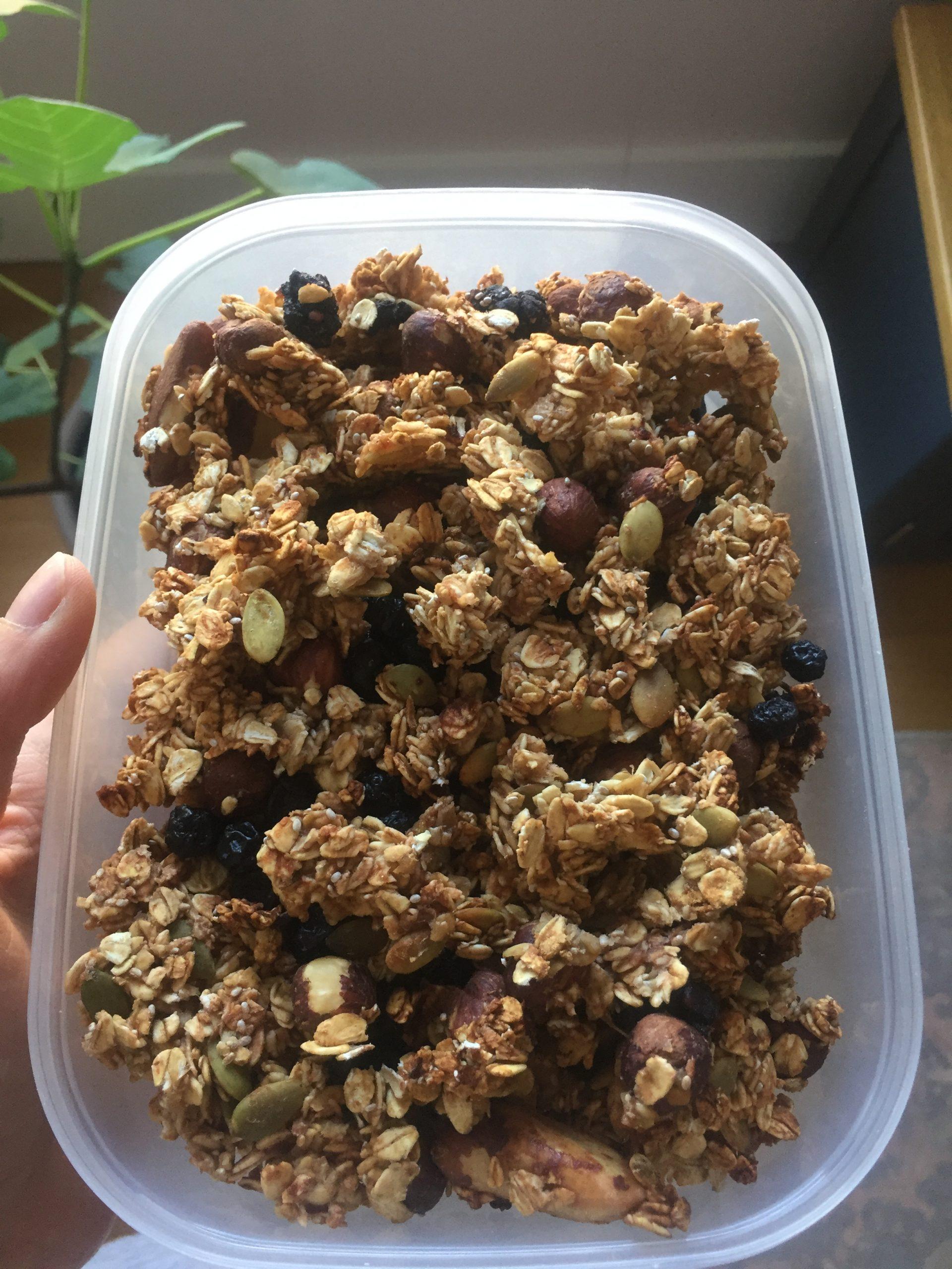 Box of homemade granola