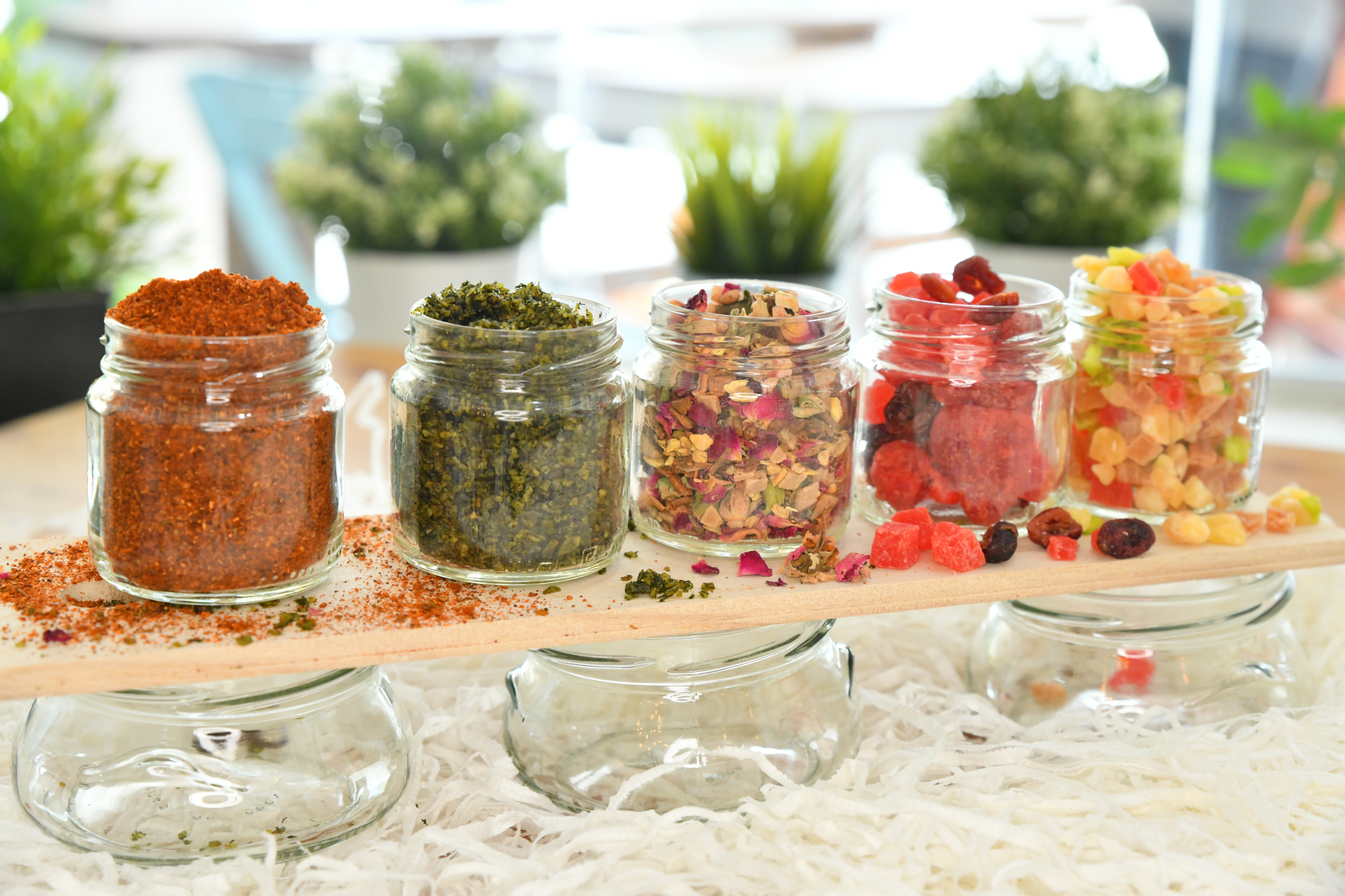 Clear jars with spices