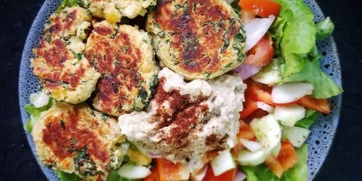 Bowl of chickpea falafel